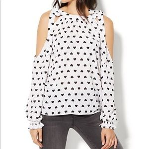 New York & Company Tops - NY&C Cold-Shoulder Blouse - Heart Print